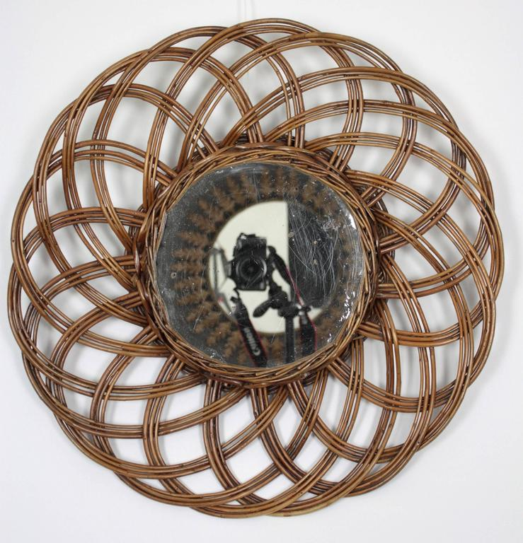Spanish 1960s Handcrafted Rattan Flower Burst Circular Mirror For Sale 2