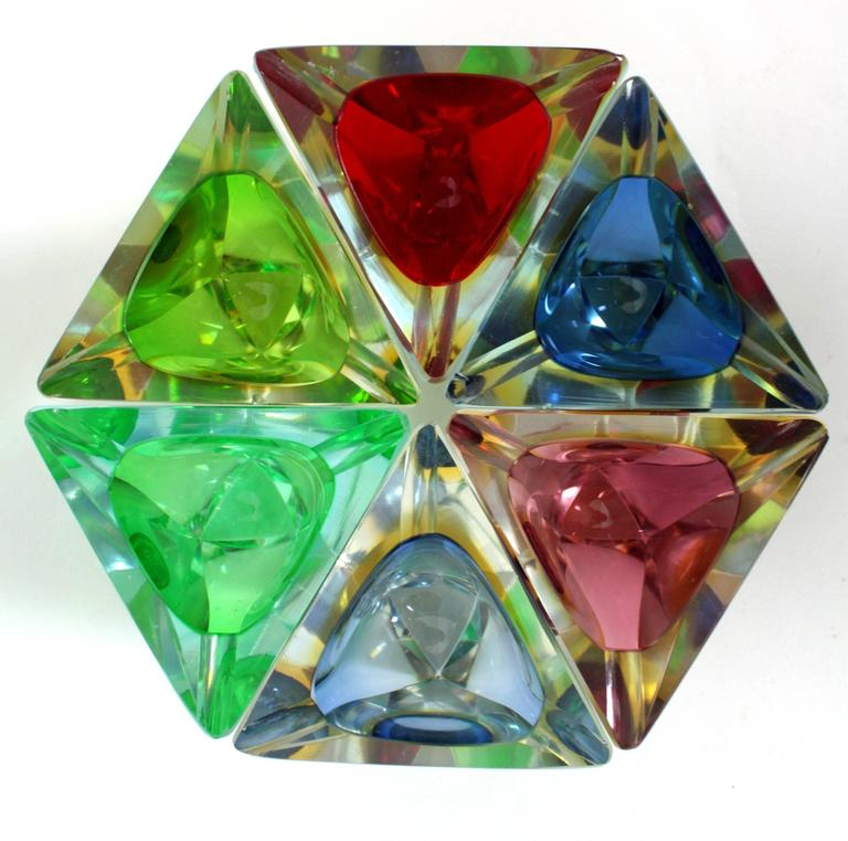Mid-Century Modern Six Flavio Poli Colorful Faceted Triangular Sommerso Murano Glass Ashtrays For Sale
