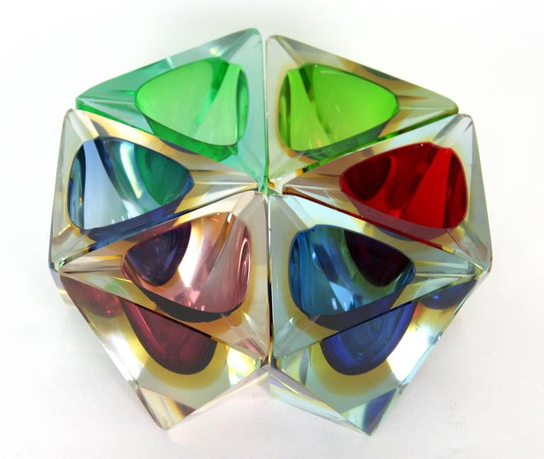Italian Six Flavio Poli Colorful Faceted Triangular Sommerso Murano Glass Ashtrays For Sale