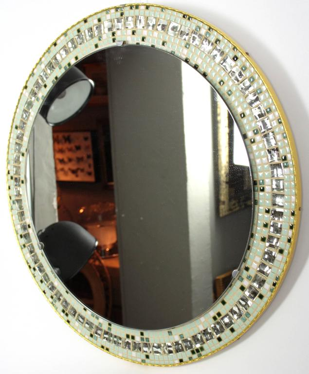 Mid-Century Modern Large 1960s Mirror Tiles and Pastel Colors Mosaic Circular Mirror For Sale
