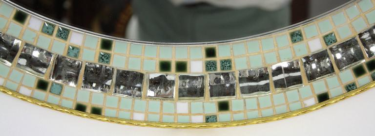 Spanish Large 1960s Mirror Tiles and Pastel Colors Mosaic Circular Mirror For Sale