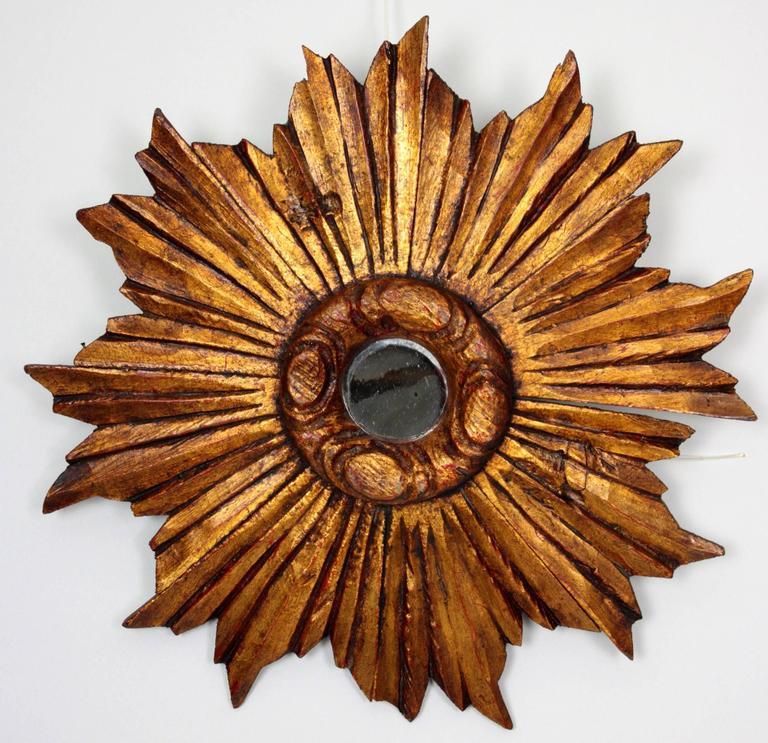 Spanish baroque style giltwood small size sunburst mirror for Small baroque mirror