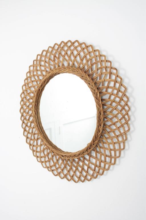 1960s Spanish Handwoven Rattan Circular Mirror 2