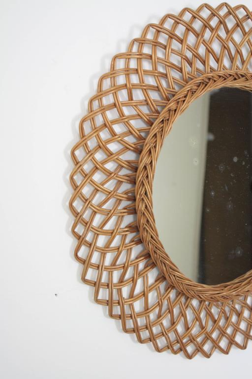 1960s Spanish Handwoven Rattan Circular Mirror 3
