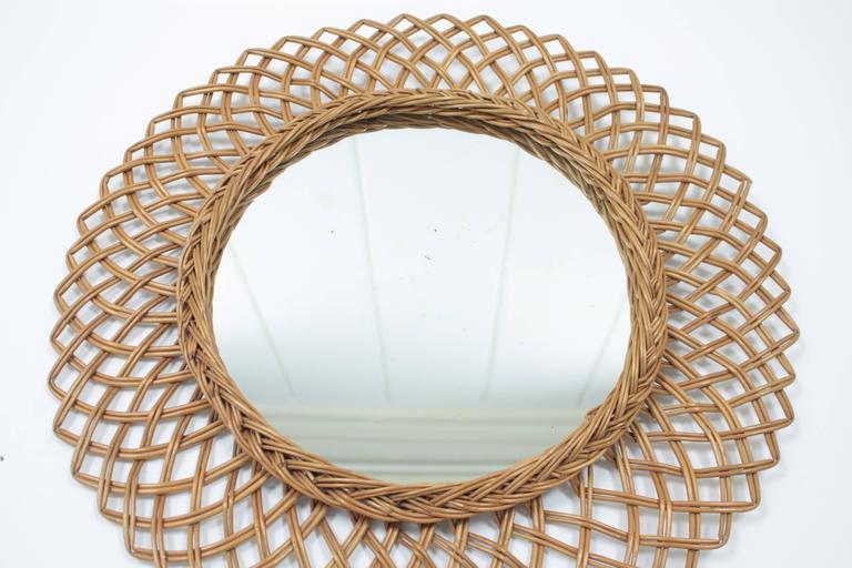 1960s Spanish Handwoven Rattan Circular Mirror 4