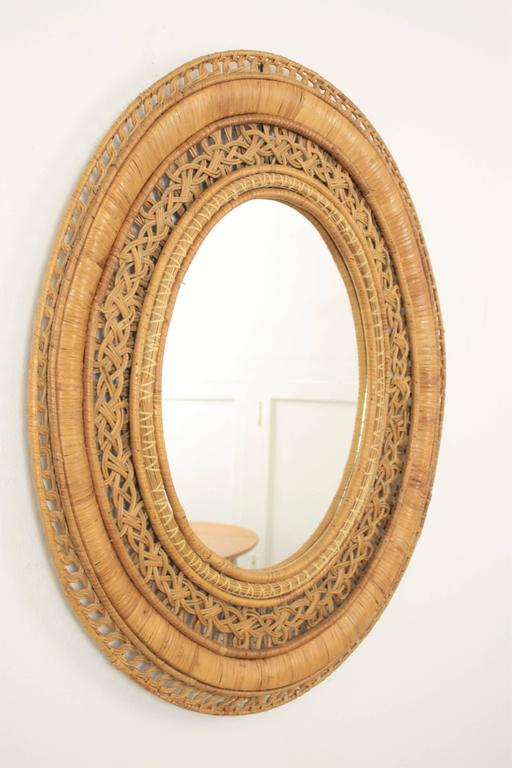 Large Rattan Woven Wicker Oval Mirror France 1960s At