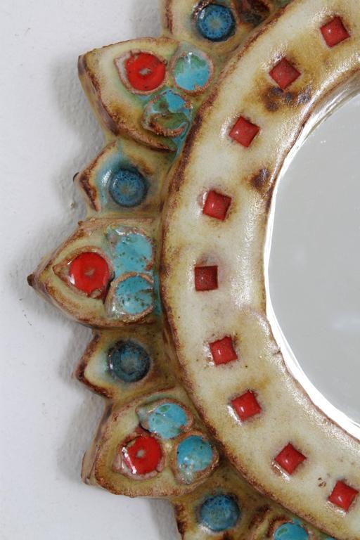 La Roue Vallauris Ceramic Sunburst Mirror in the Manner of Georges Pelletier 3