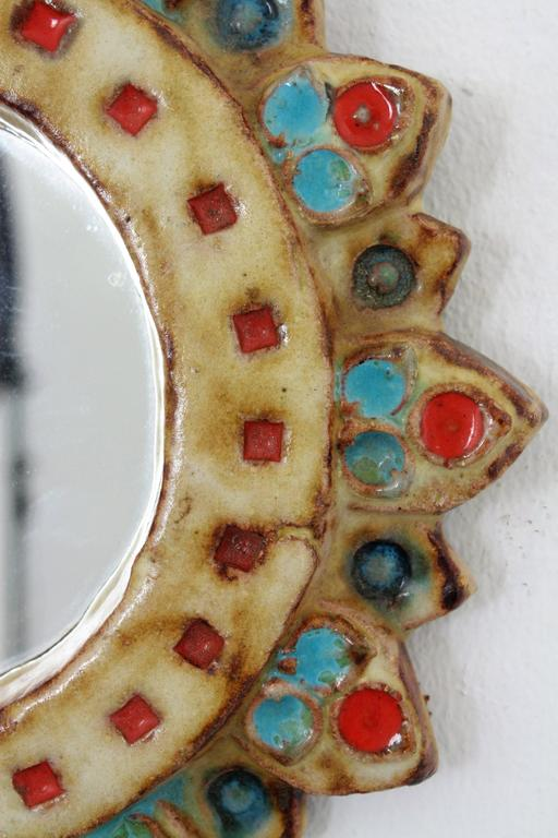 Glazed La Roue Vallauris Ceramic Sunburst Mirror in the Manner of Georges Pelletier For Sale