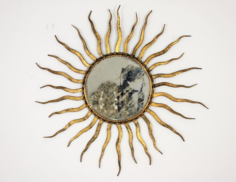 French Wrought Iron Sunburst Mirror in the Style of Gilbert Poillerat 2
