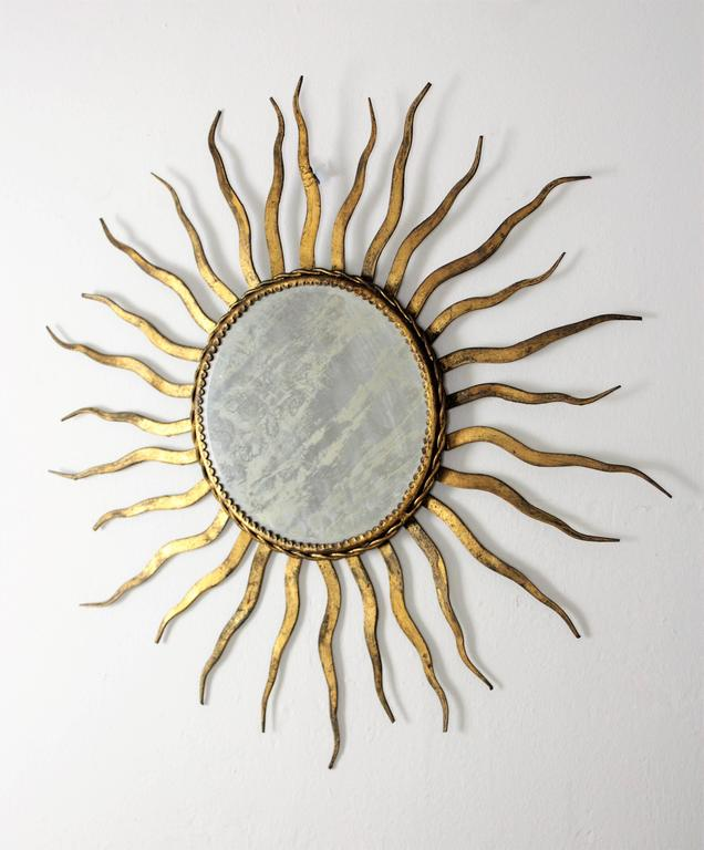 French Wrought Iron Sunburst Mirror in the Style of Gilbert Poillerat 4