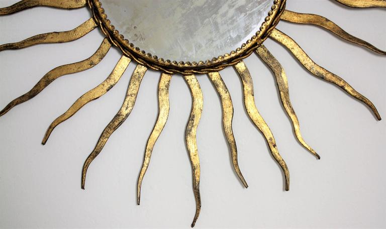 French Wrought Iron Sunburst Mirror in the Style of Gilbert Poillerat 5