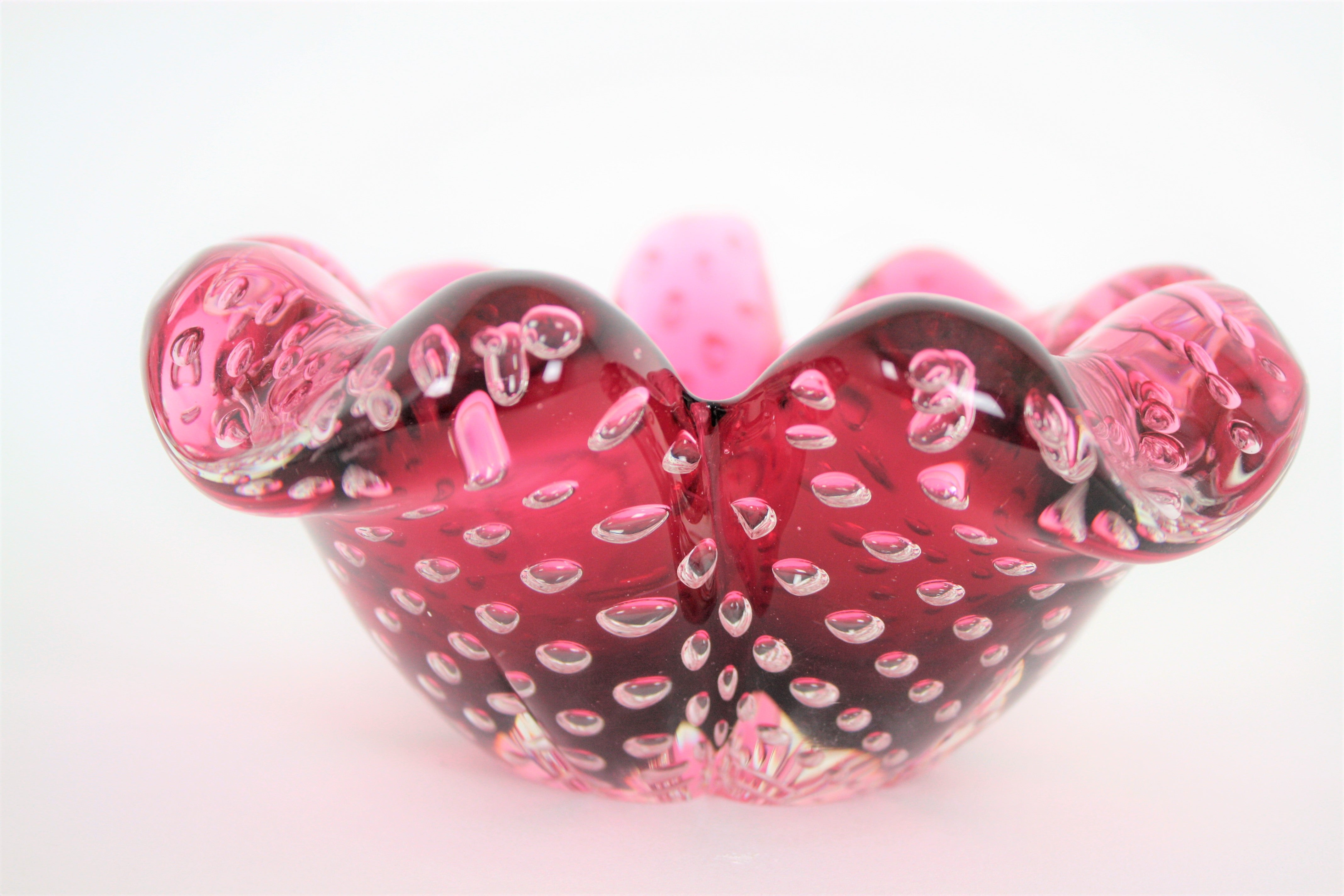 Handblown Pink Murano Glass Flower Bowl with Controlled Bubbles at ...