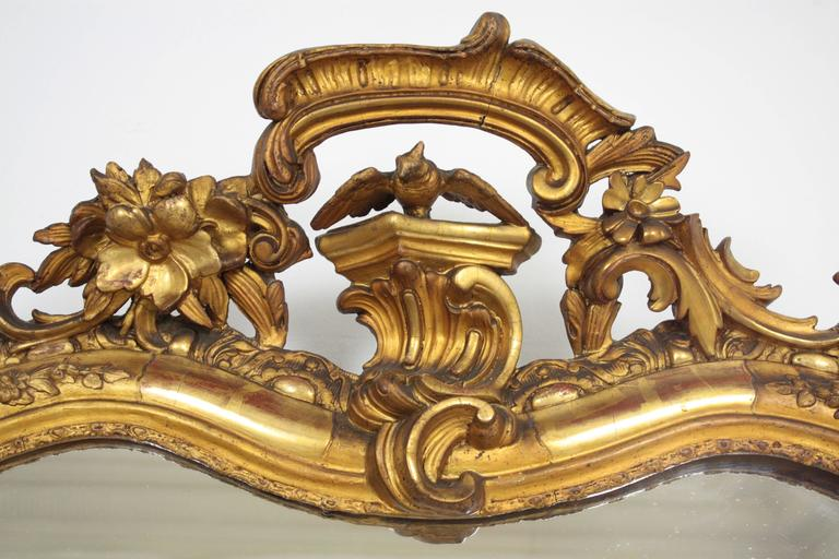 18th Century French Louis XV Period Carved Giltwood Mirror For Sale