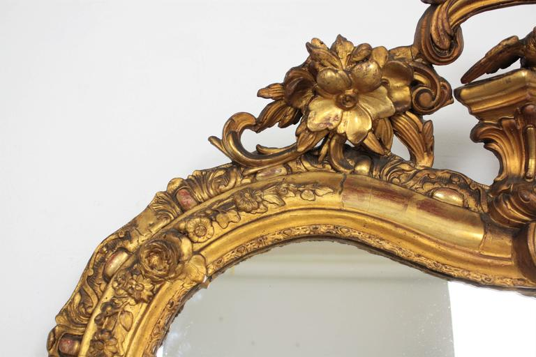French Louis XV Period Carved Giltwood Mirror For Sale 4