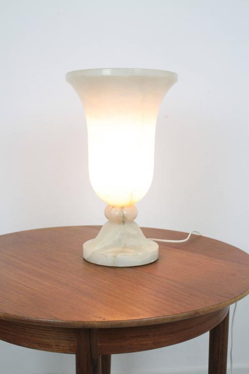 Spanish 1930s Art Deco Alabaster Urn Table Lamp 2