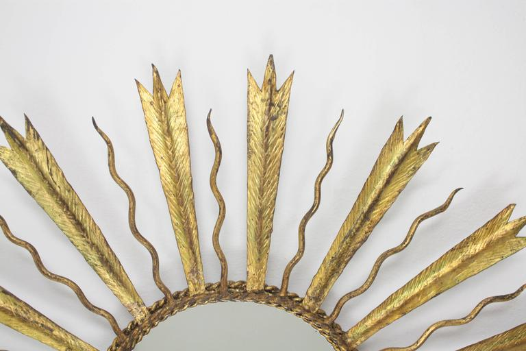 French Gilt Iron Sunburst Mirror in the Manner of Gilbert Poillerat In Excellent Condition For Sale In Barcelona, ES