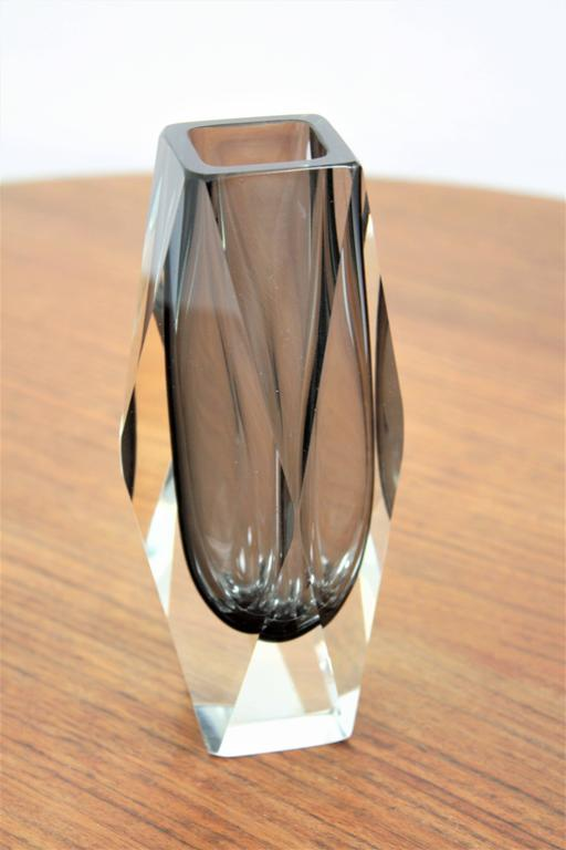Art Glass Mandruzzato Smoked Grey and Clear Faceted Sommerso Murano Glass Vase For Sale