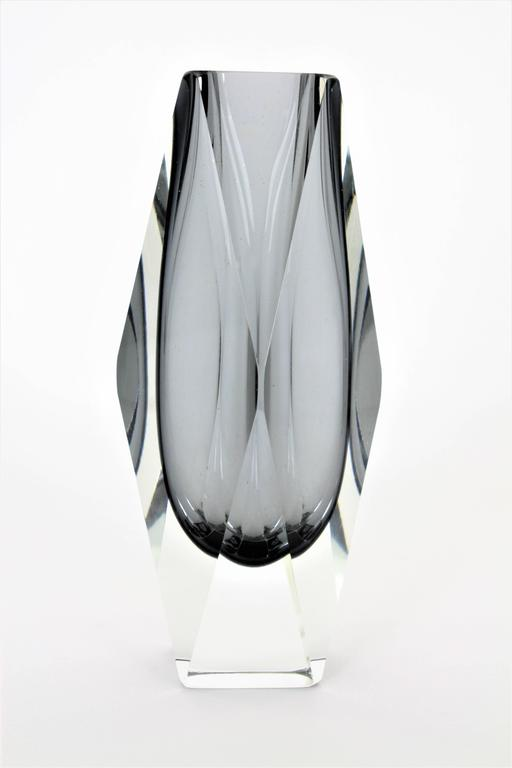 Mandruzzato Smoked Grey And Clear Faceted Sommerso Murano Glass Vase