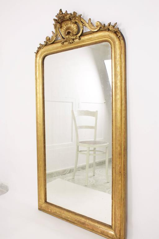 Antique French 19th Century Louis Philippe Gold Leaf Giltwood Coquille Mirror 2
