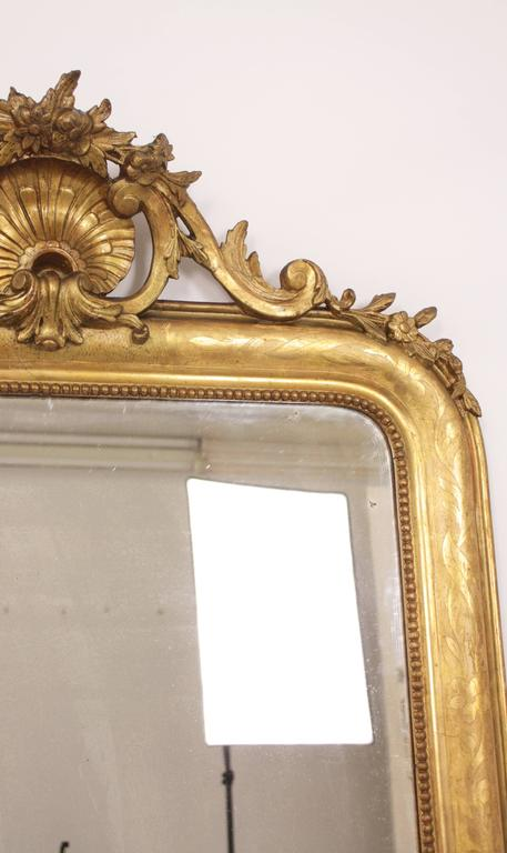 Antique French 19th Century Louis Philippe Gold Leaf Giltwood Coquille Mirror 4