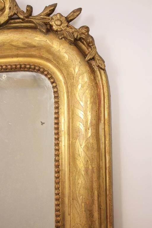 Antique French 19th Century Louis Philippe Gold Leaf Giltwood Coquille Mirror 5