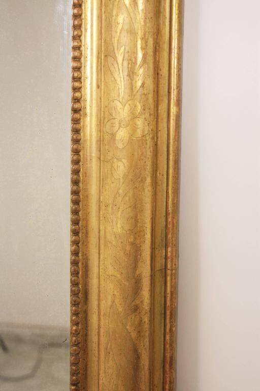 Antique French 19th Century Louis Philippe Gold Leaf Giltwood Coquille Mirror 6