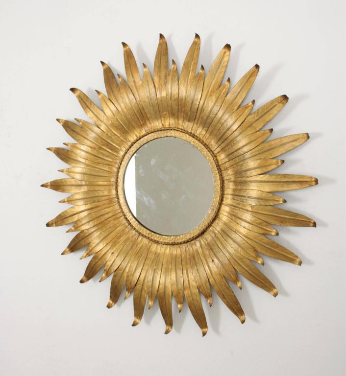 20th Century Mid-Century Modern Spanish Gilt Iron Leafed Sunburst Mirror For Sale