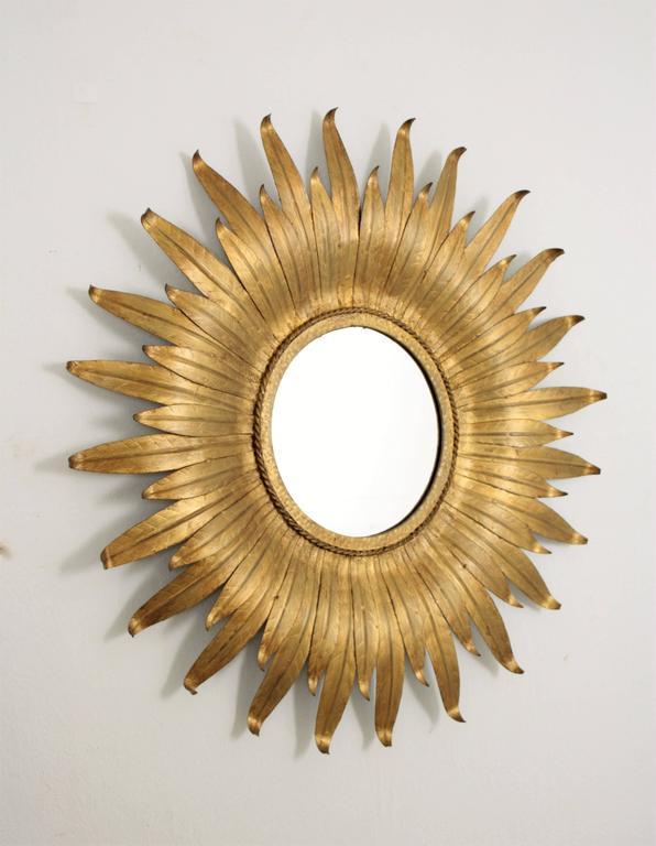 Mid-Century Modern Spanish Gilt Iron Leafed Sunburst Mirror For Sale 2