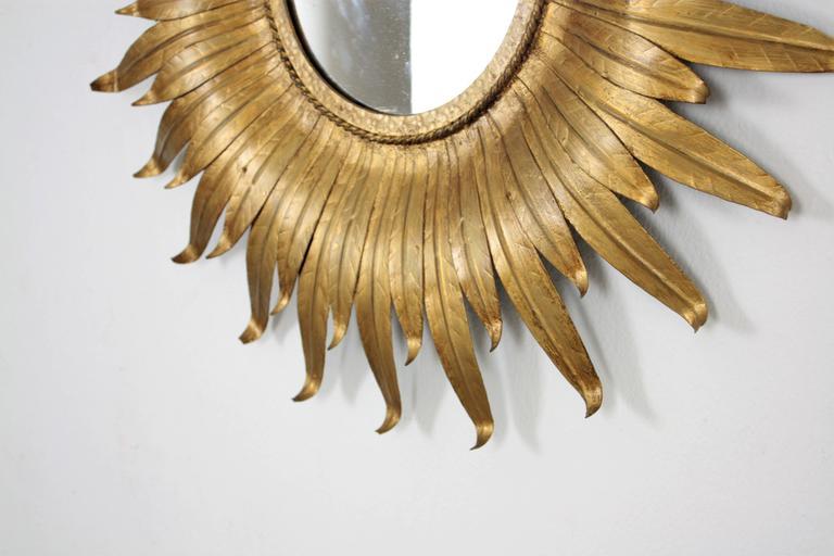 Mid-Century Modern Spanish Gilt Iron Leafed Sunburst Mirror For Sale 3