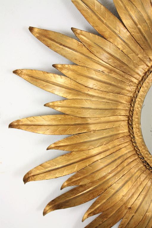 Mid-Century Modern Spanish Gilt Iron Leafed Sunburst Mirror For Sale 1