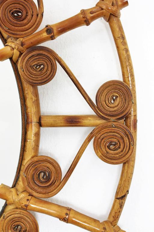 Mid-Century Modern Spanish 1950s Filigree Bamboo and Rattan Circular Mirror For Sale