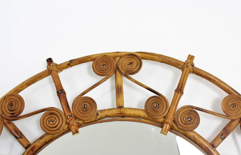 Spanish 1950s Filigree Bamboo and Rattan Circular Mirror For Sale 1
