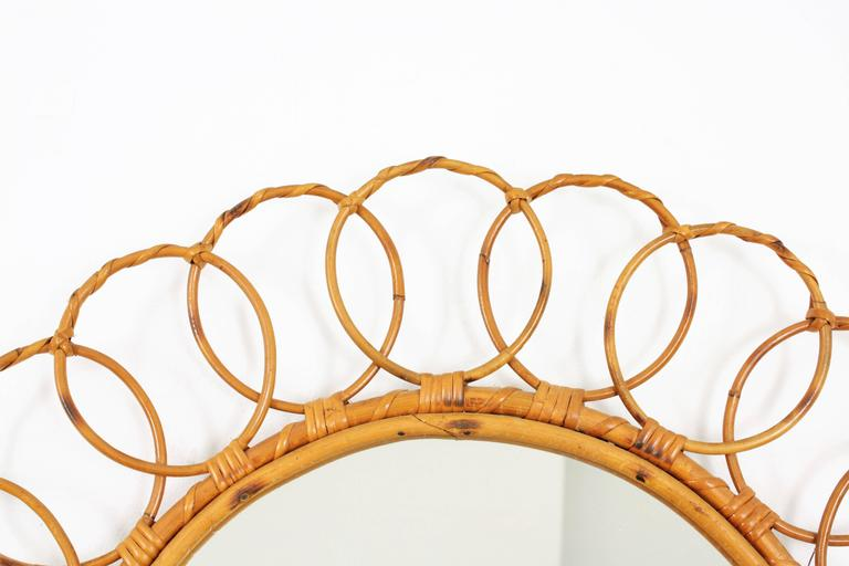 Large 1960s Spanish Bamboo Circular Mirror Framed with Rattan Circles In Excellent Condition For Sale In Barcelona, ES