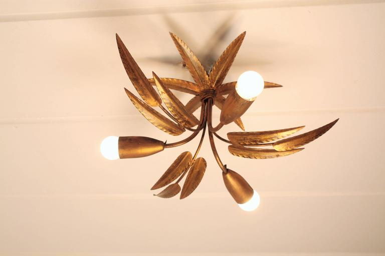 Set of Two Leaf Design Gilt Iron Ceiling Sconces and Wall Sconce, Spain, 1960s For Sale 2