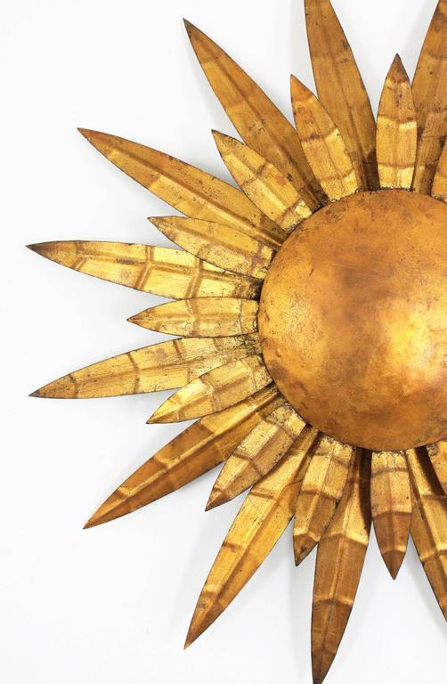 French 1950s Gilt Iron Sunburst Ceiling Sconce Wall Light or Wall ...