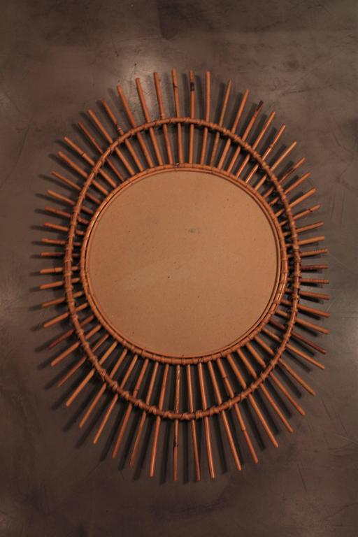 1960s French Rattan Asymmetric Oval Sunburst Mirror For Sale 1