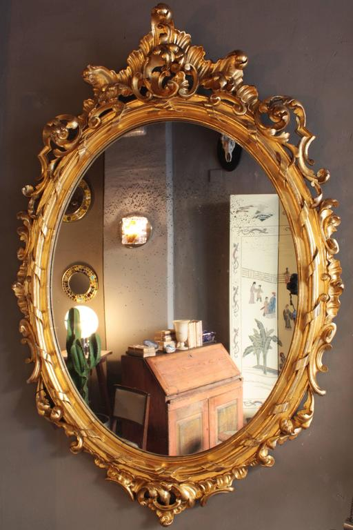 Huge Palatial French 19th Century Rococo Carved Gold Leaf Giltwood Oval Mirror 8