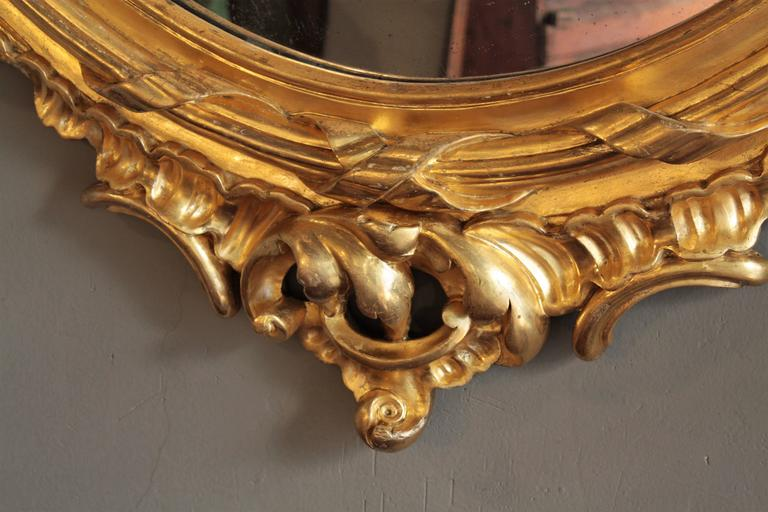 Huge Palatial French 19th Century Rococo Carved Gold Leaf Giltwood Oval Mirror 6