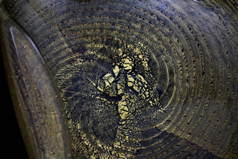 20th Century Barovier Toso Murano Gold Flecks Swirls Glass Bowl, Ashtray or Vide-Poche For Sale