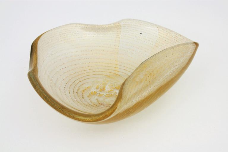 Barovier Toso Murano Gold Flecks Swirls Glass Bowl, Ashtray or Vide-Poche For Sale 3