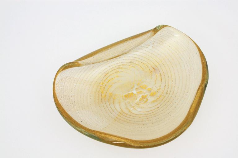 Barovier Toso Murano Gold Flecks Swirls Glass Bowl, Ashtray or Vide-Poche For Sale 4