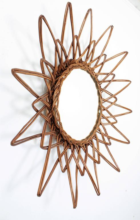 Hand-Crafted Spanish 1960s Handcrafted Rattan Starburst or Sunburst Wall Mirror For Sale