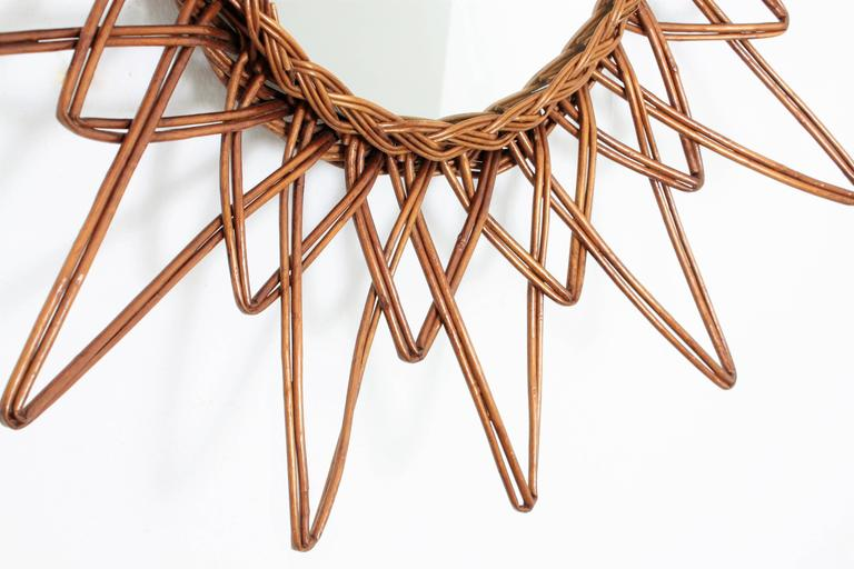 Mid-Century Modern Spanish 1960s Handcrafted Rattan Starburst or Sunburst Wall Mirror For Sale