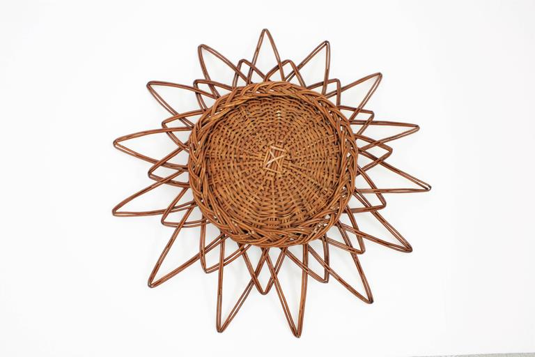 Spanish 1960s Handcrafted Rattan Starburst or Sunburst Wall Mirror For Sale 1