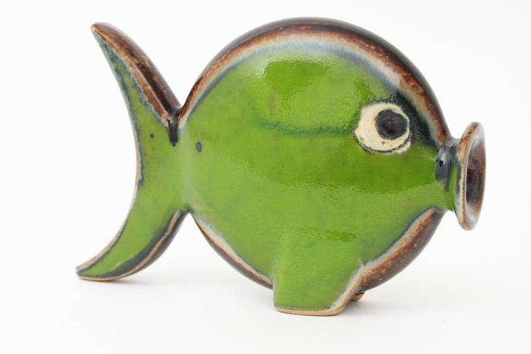 Spanish 1950s Glazed Ceramic Green Fish Figurine In Excellent Condition For Sale In Barcelona, ES