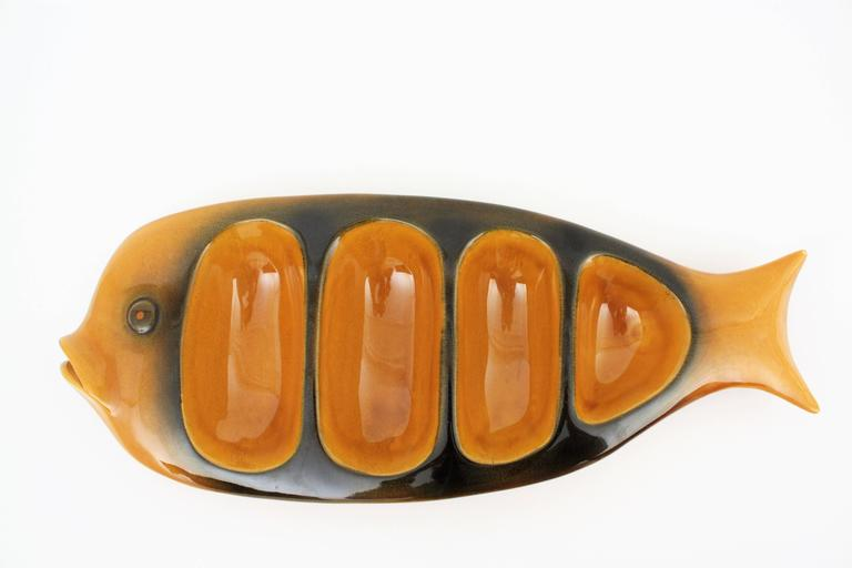 Mid-Century Modern  20th Century European Colorful Glazed Ceramic Fishes Wall Decoration  For Sale