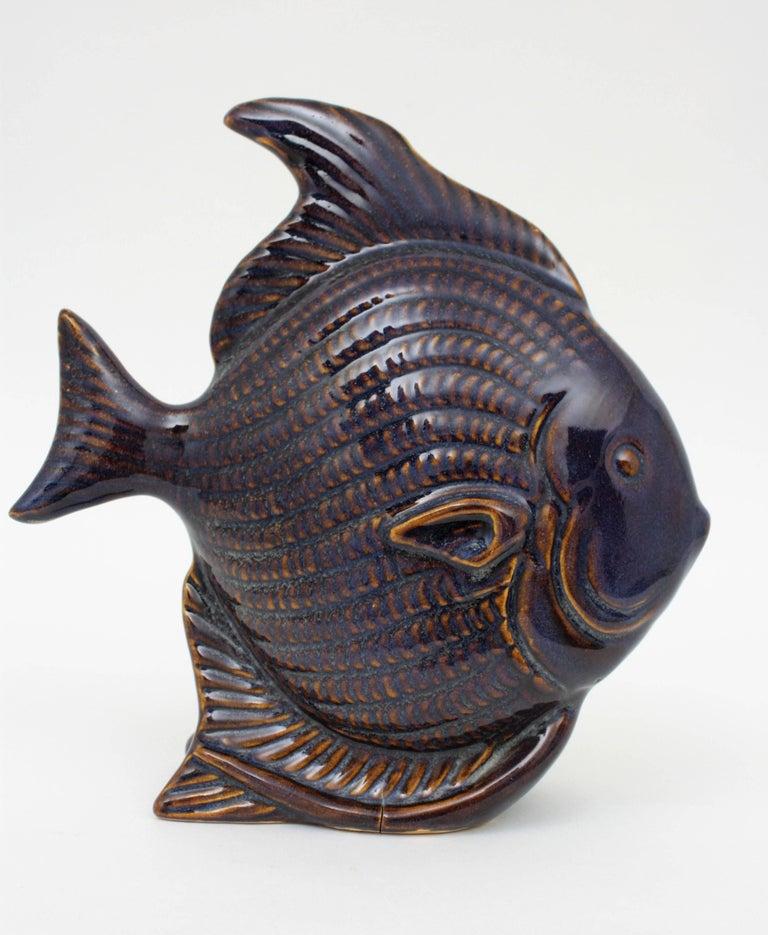 Pair of mid century modern cobalt blue ceramic and white for Ceramic fish sculpture