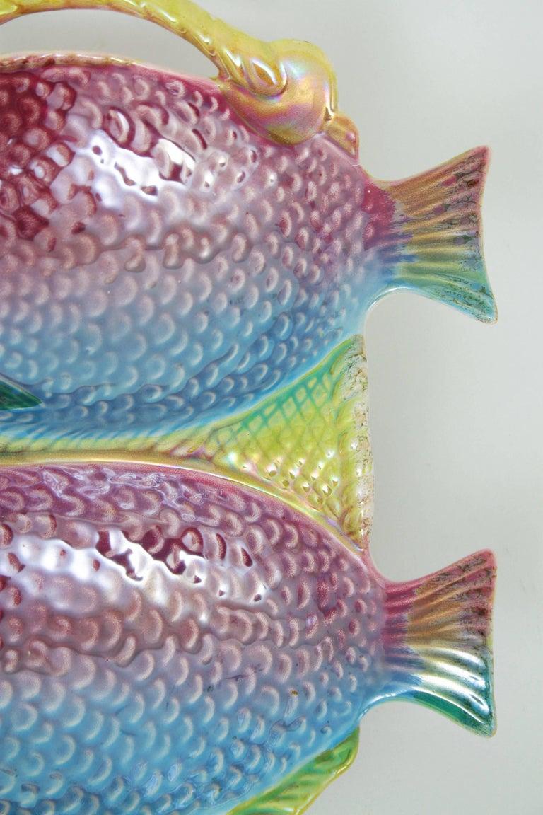 Vintage Pastel Colors Majolica Glazed Ceramic Fish Platter