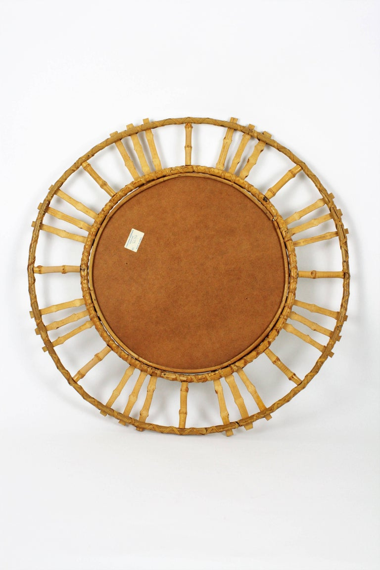 Unusual Spanish 1960s Bamboo Circular Sunburst Mirror with Tiki Accents For Sale 2