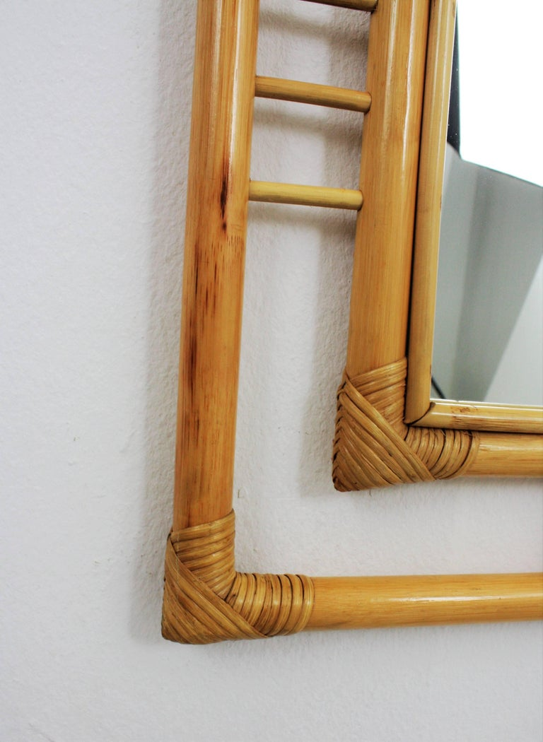 20th Century Large Chinoiserie Bamboo Rectangular Wall Mirror, Spain 1960s For Sale